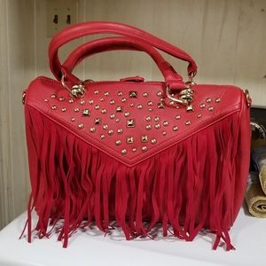 Red purse with matching red boots